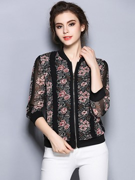 Ericdress Stand Collar V-Neck Plus-Size Floral Zipper Blouse