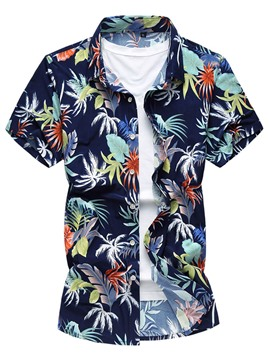 Ericdress Floral Short Sleeve Casual Men's Shirt