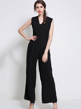 Ericdress High-Waist Solid Color Chiffon Wide Legs Jumpsuits Pants