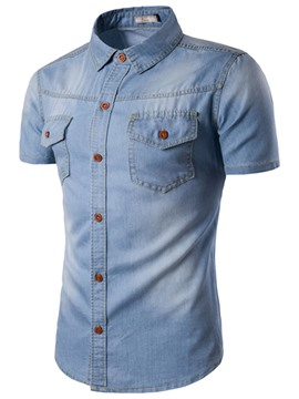 Ericdress Pocket Denim Slim Short Sleeve Men's Shirt