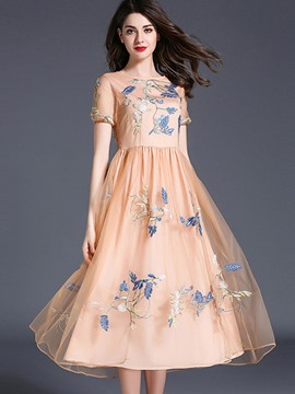 Ericdress Embroidery Mesh Expansion A Line Dress