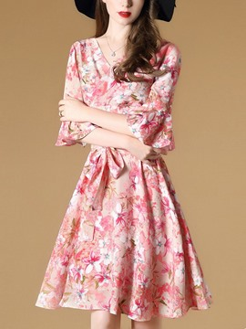 Ericdress Ruffle Sleeve V-Neck Floral Print A Line Dress