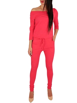 Ericdress Hollow Lace-Up Pocket Plain Jumpsuits Pants