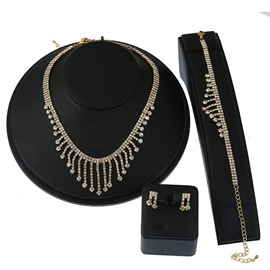 Ericdress Alloy Diamante Tassel Three-Piece Jewelry Set