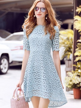 Ericdress Ladylike Crochet Hollow Asymmetric Lace Dress