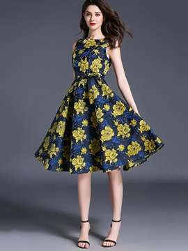 Ericdress Flower Print Pleated Bow-tied Expansion A Line Dress