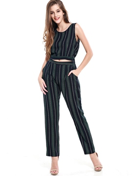 Ericdress Sleeveless Stripe Pocket Suits