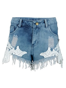 Ericdress High-Waist Tassel Worn Denim Shorts