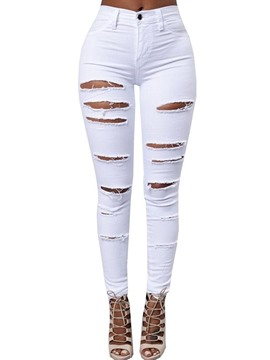 Ericdress High-Waist Worn Washable Jeans
