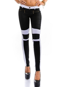 Ericdress Low-Waist Color Block Zipper Leggings Pants
