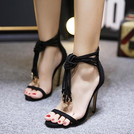 Ericdress Open Toe Tassel Plain Stiletto Sandals