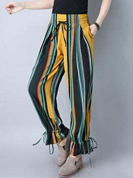 Ericdress Knickerbockers Lace Up Striped Pants