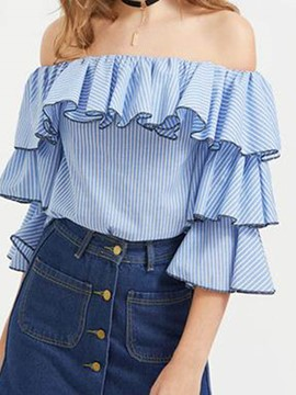 Ericdress Stripe Falbala Slash Neck Ruffle Sleeve Blouse