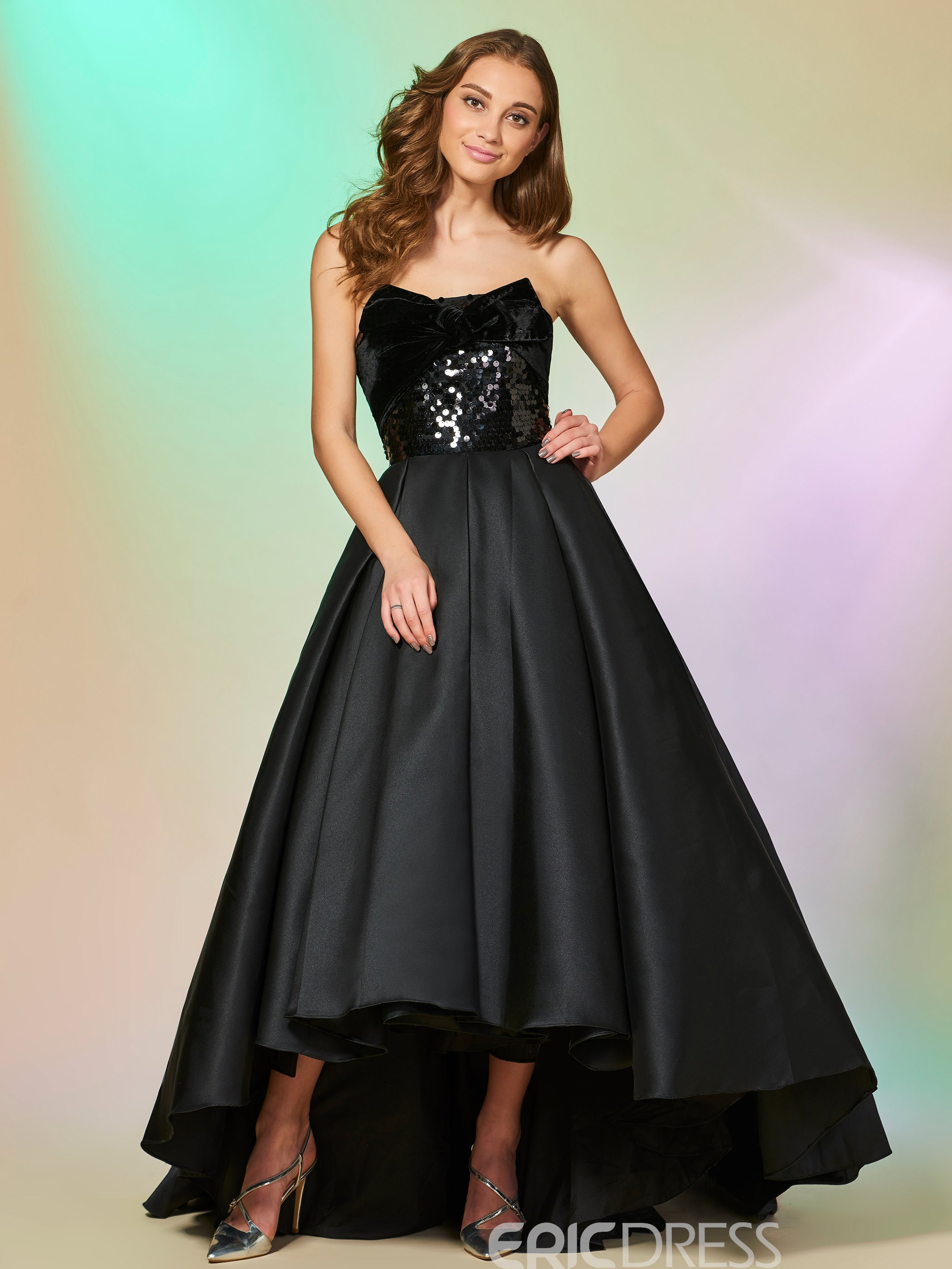 Ericdress Strapless Sequin HIgh Low Asymmetry Prom Dress 12857607