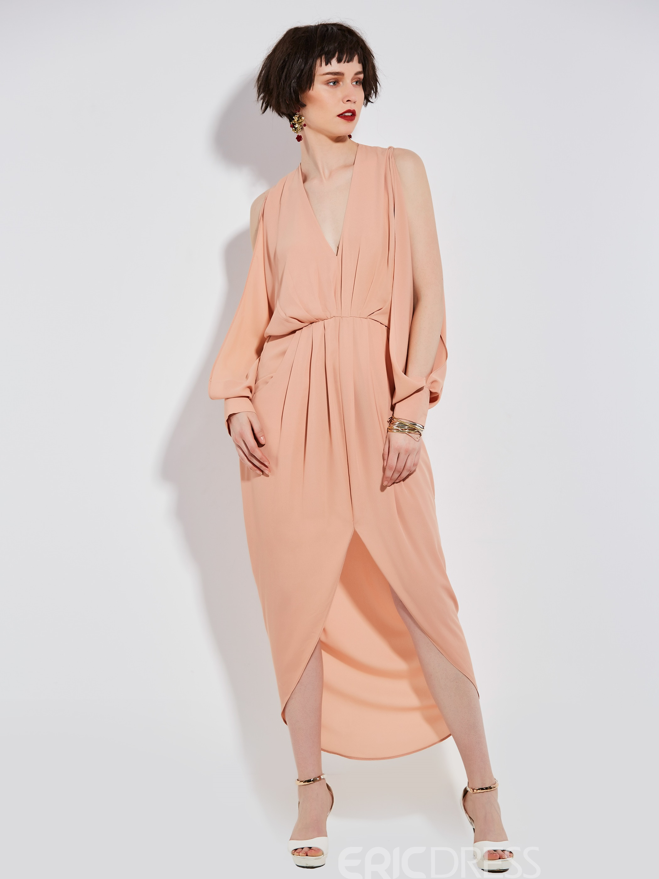EricdressPlain V-Neck Pleated Plain Maxi Dress