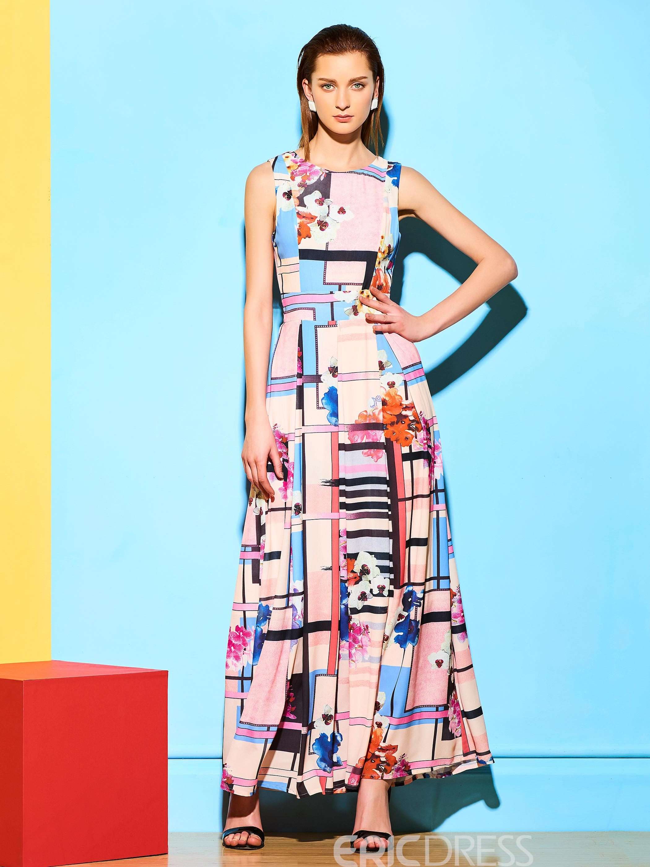 Ericdress Plaid Floral Print Sleeveless Expansion Maxi Dress
