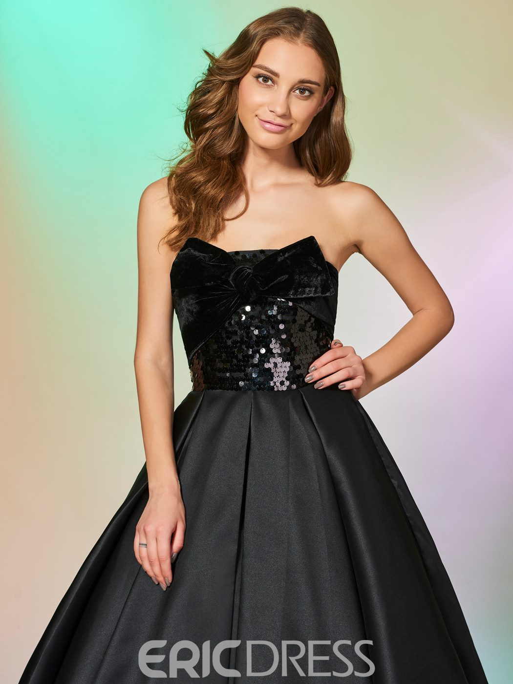 Ericdress Strapless Sequin HIgh Low Asymmetry Prom Dress