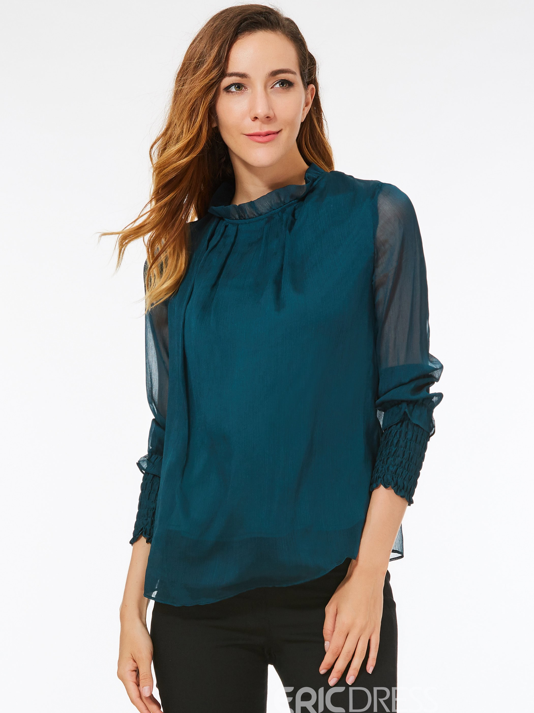 Ericdress Loose Solid Color Mesh Patchwork T-Shirt
