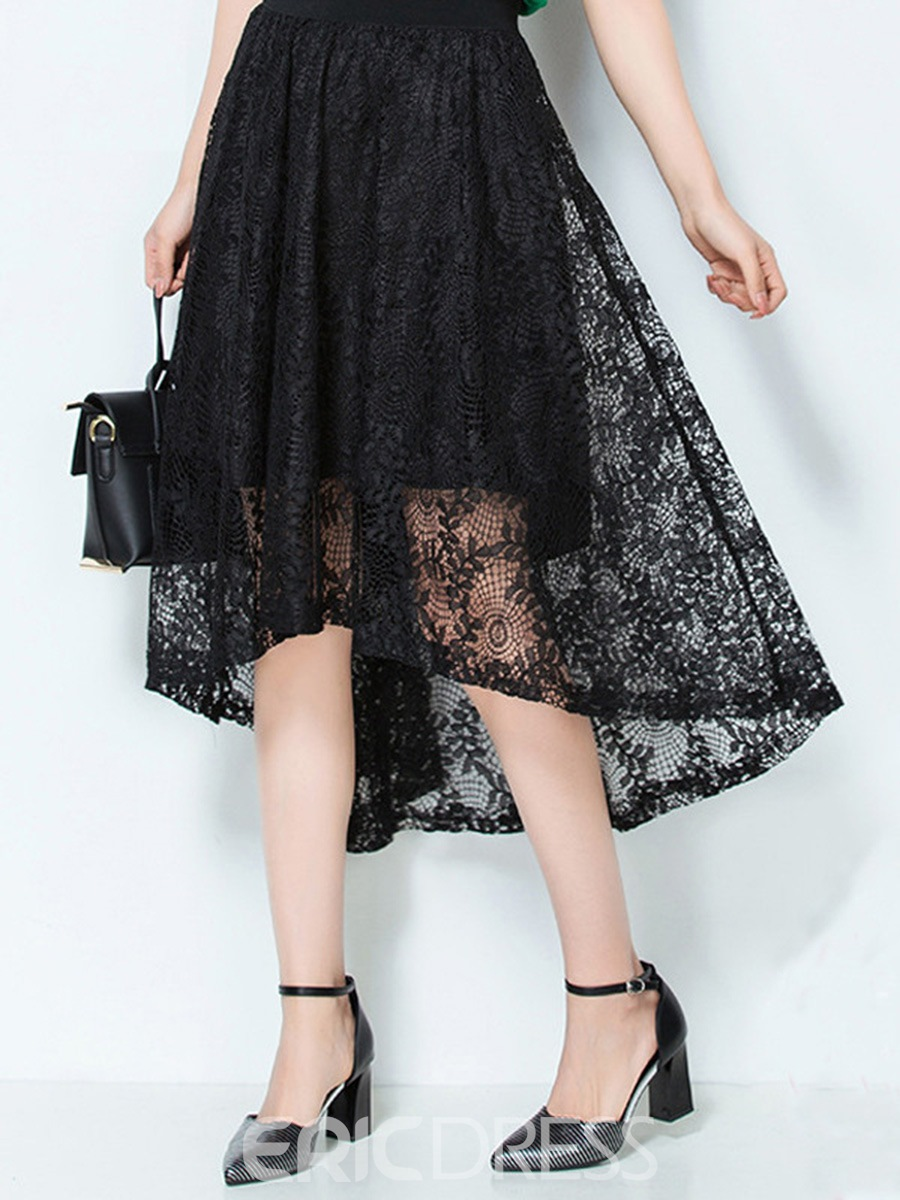 Ericdress Asymmetric Hollow Usual Skirts