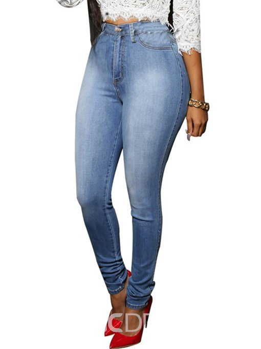 Ericdress High-Waist Button Washable Jeans