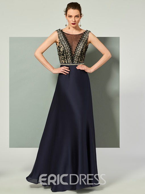 Ericdress A Line Lace Deep Back Long Evening Dress