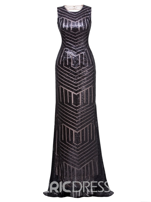 Ericdress Scoop Neck Backless Sequins Mermaid Evening Dress