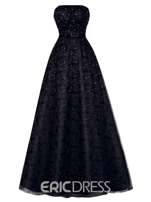 Ericdress Strapless Beaded Lace A Line Evening Dress With Lace-Up Back