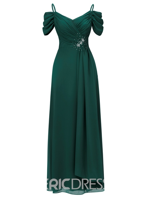 Ericdress A Line Draped Pleats Beading Long Evening Dress