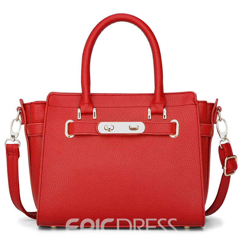 Ericdress Lichee Grain Lock Decoration Handbag