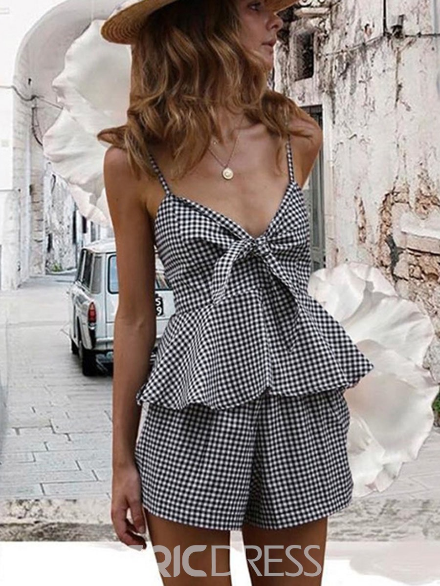 EricdressV-Neck Plaid Two Piece Set