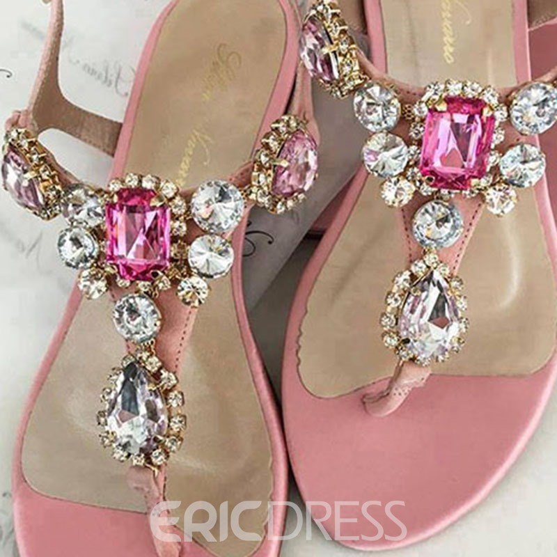 Ericdress Rhinestone Thong Buckle Flat Sandals