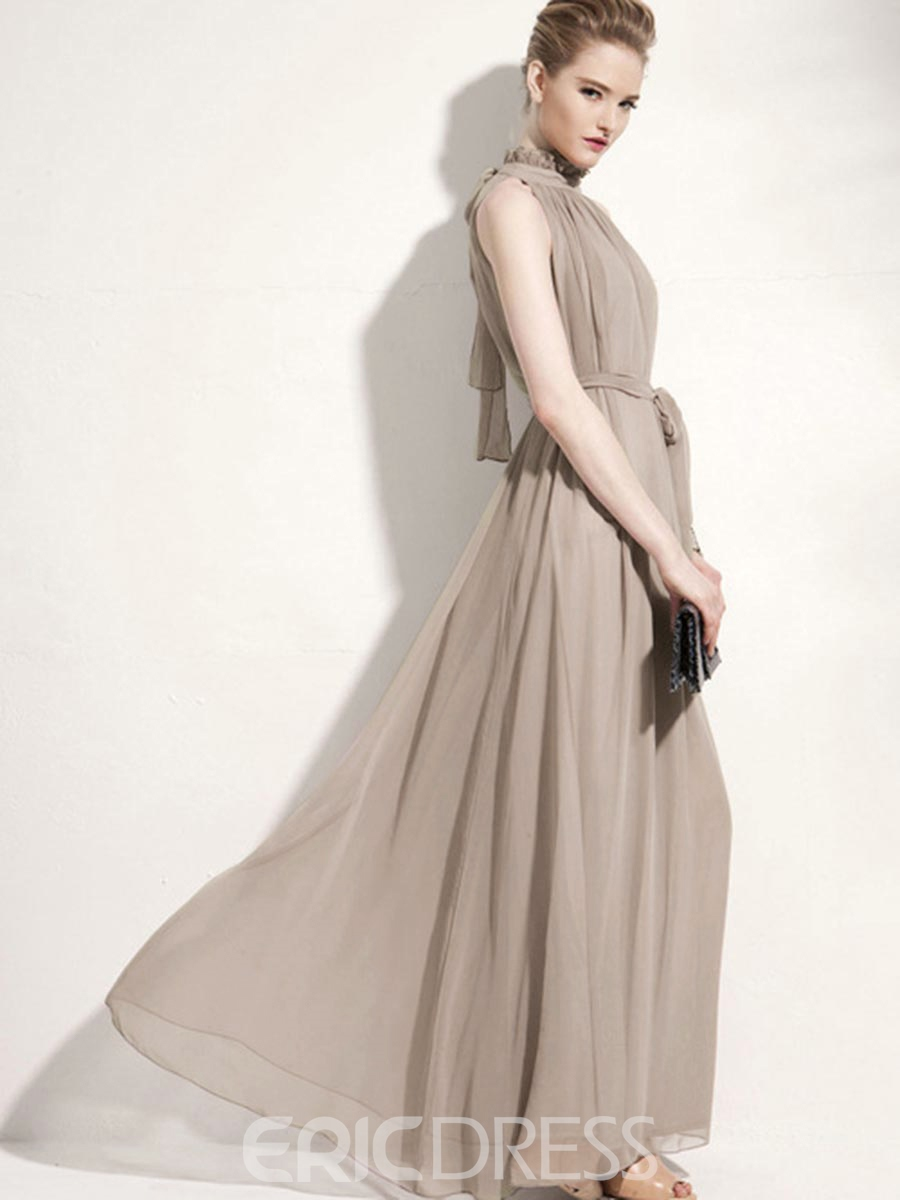 Ericdress Falbala Stand Collar Pleated Belt Maxi Dress