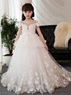 Ericdress Jewel Ball Gown Short Sleeves Appliques Flower Girl Dress