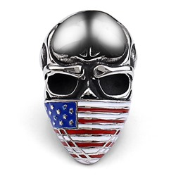 Ericdress Skull National Flag Pattern Titanium Steel Men Ring