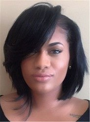 Ericdress Short Bob Straight Synthetic Hair With Full Bangs Women Wigs Capless 10 Inches фото