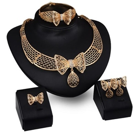 Ericdress 18K Gold Plated Bowtie Jewelry Set