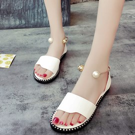 Ericdress Concise PU Open Toe Pearl Decorated Flat Sandals