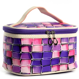 Ericdress Color Grid PU Cosmetic Bag