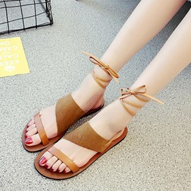 Ericdress Roman Suede Open Toe Flat Sandals