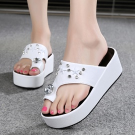 Ericdress Rhinestone Toe Ring Beach Mules Shoes