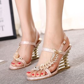 Ericdress Sweet Rhinestone Open Toe Wedge Sandals
