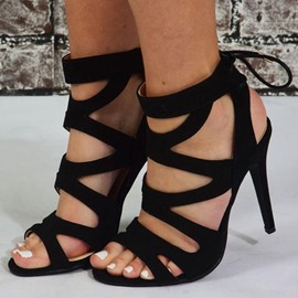 Ericdress Hollow Lace-Up Open Toe Sandals