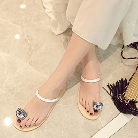 Ericdress Rhinestone Eyes Toe Ring Flat Sandals