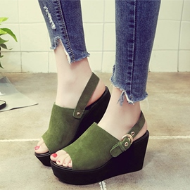 Ericdress Suede Platform Wedge Sandals