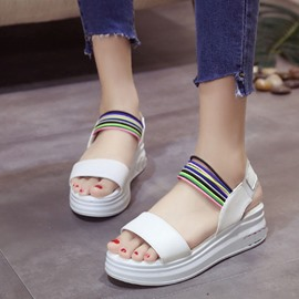 Ericdress Colorful Strap Open Toe Flat Sandals