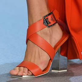 Ericdress Orange Open Toe Buckle Chunky Heel Sandals