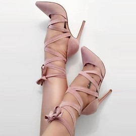 Ericdress Cross Strap Lace-Up Pointed Toe Pumps