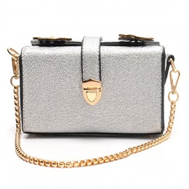 Ericdress Dazzling Solid Color Chain Crossbody Bag