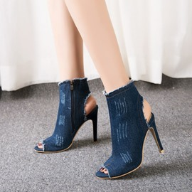 Ericdress denim peep toe stiletto sandalias