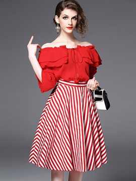 Ericdress Half Sleeves Ruffles Striped Women Suits